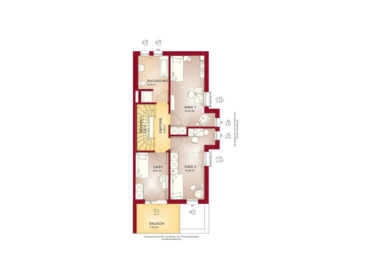 4 Bedrooms Modern Design with a Flat Roof 6.7x14.2M ...