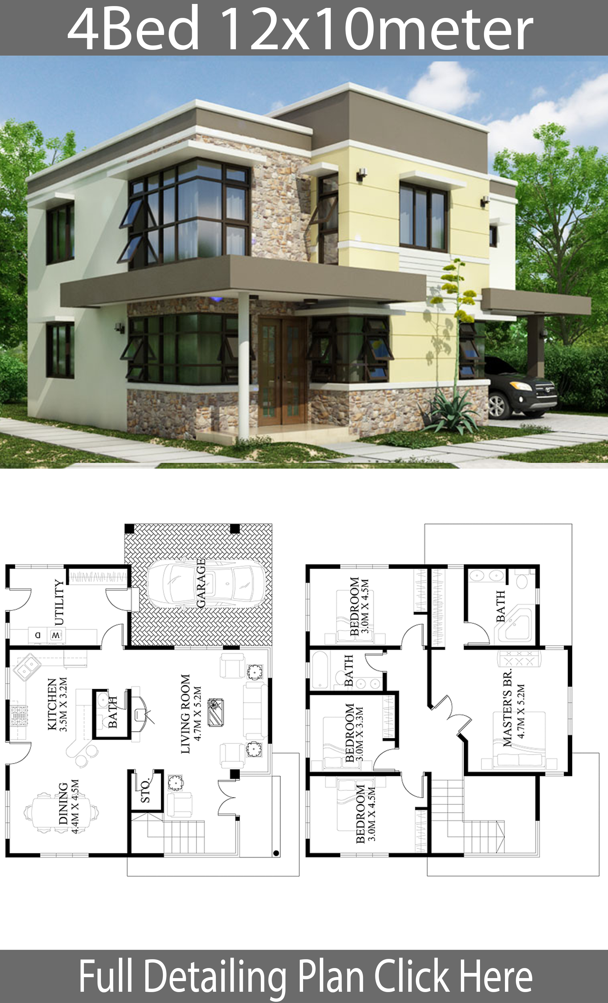 home design plan 12x10m with 4 bedrooms  house plans 3d
