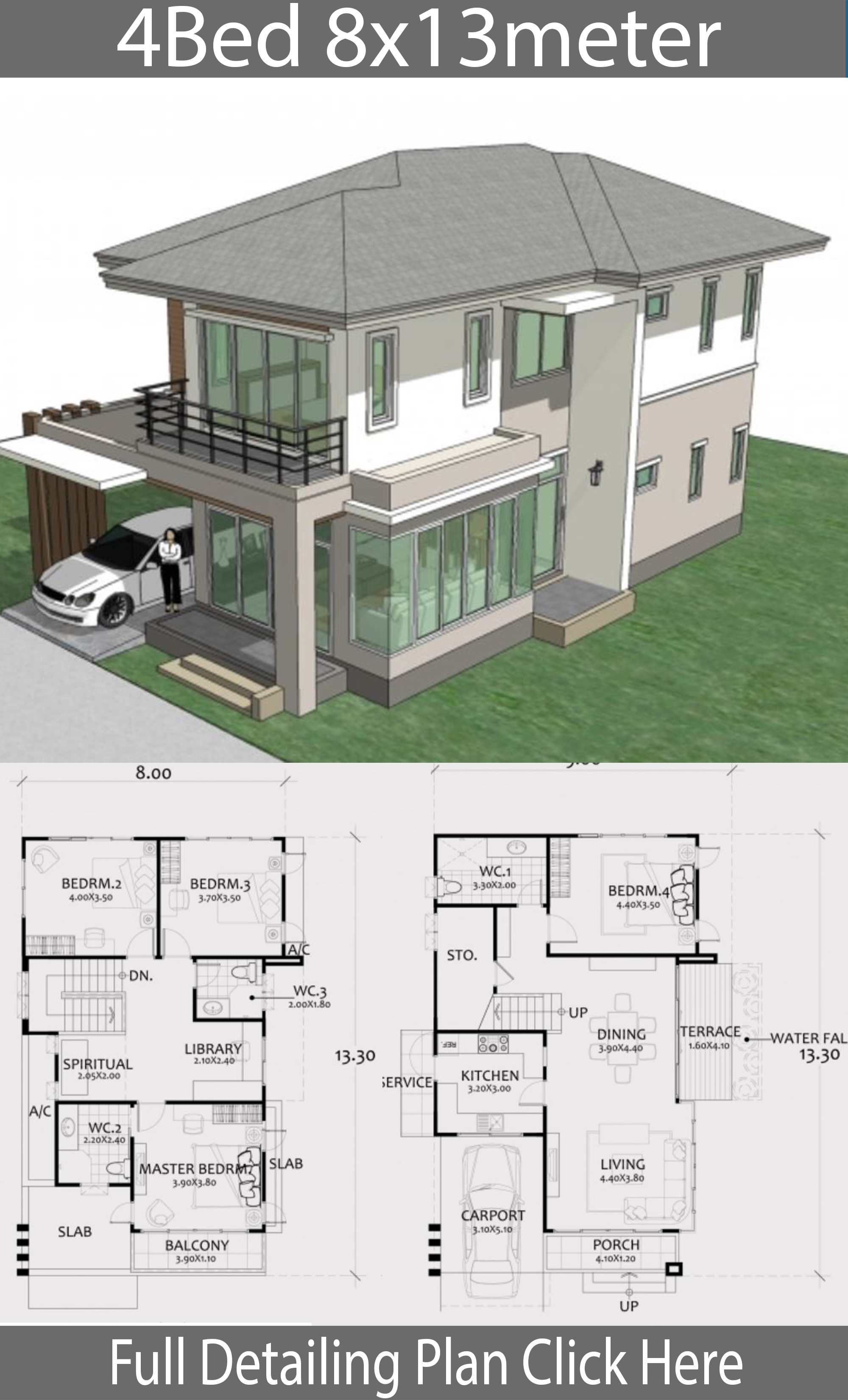 Home Design Plan 8x13m with 4 Bedrooms. - House Plans 3D