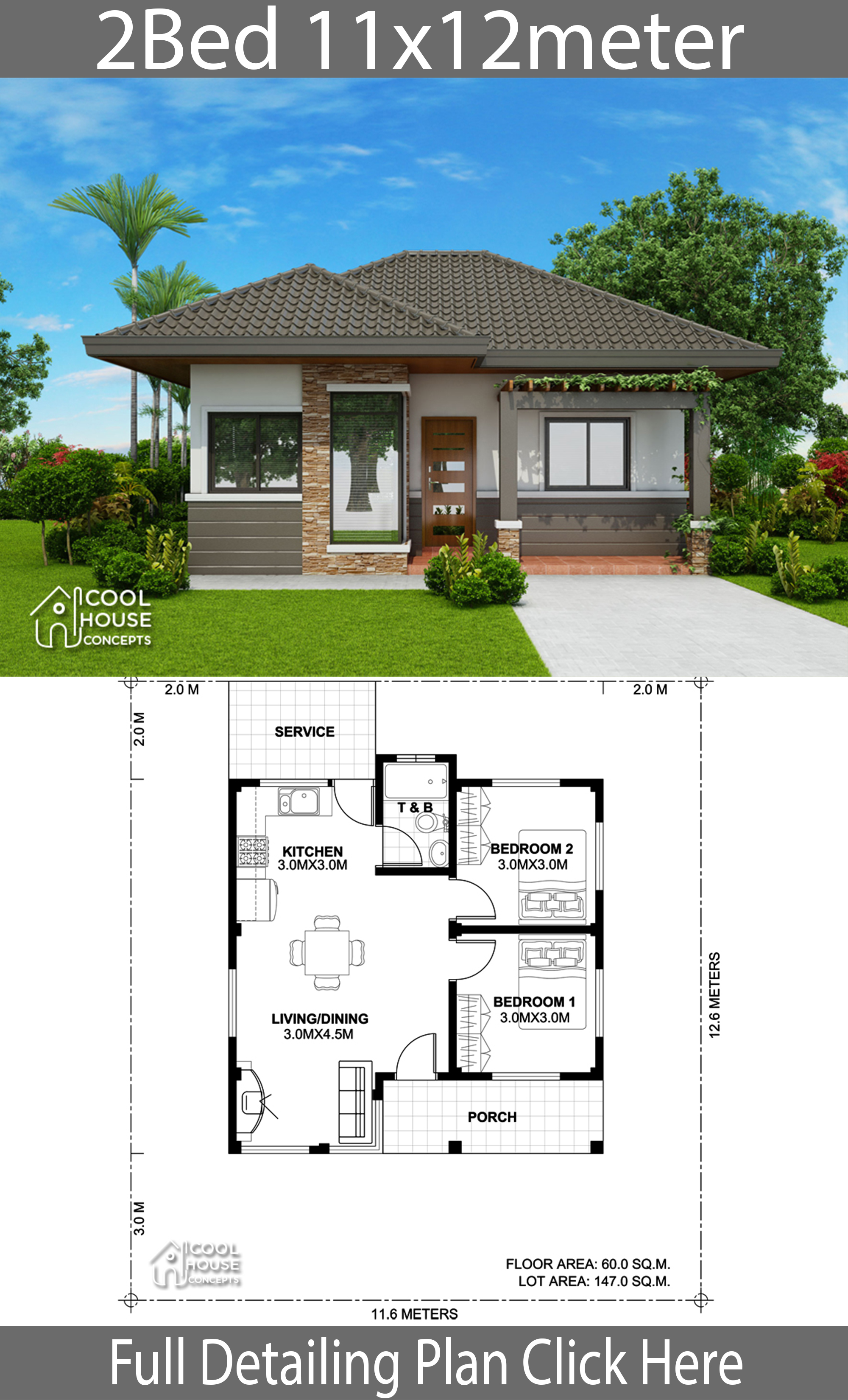 home design plan 11x12m with 2 bedrooms  house plans 3d