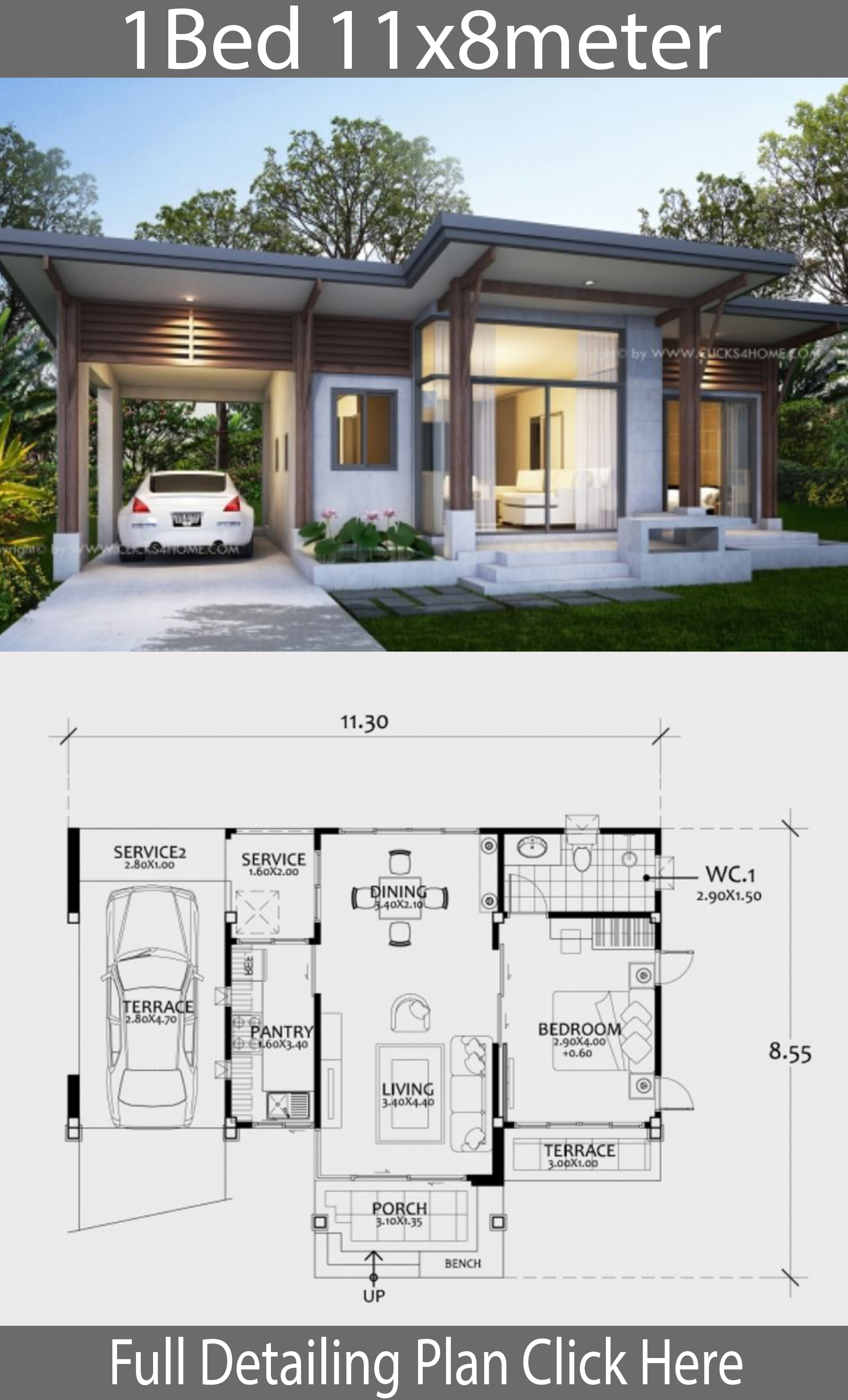 Home design plan 11x8m with One Bedroom - House Plans 3D
