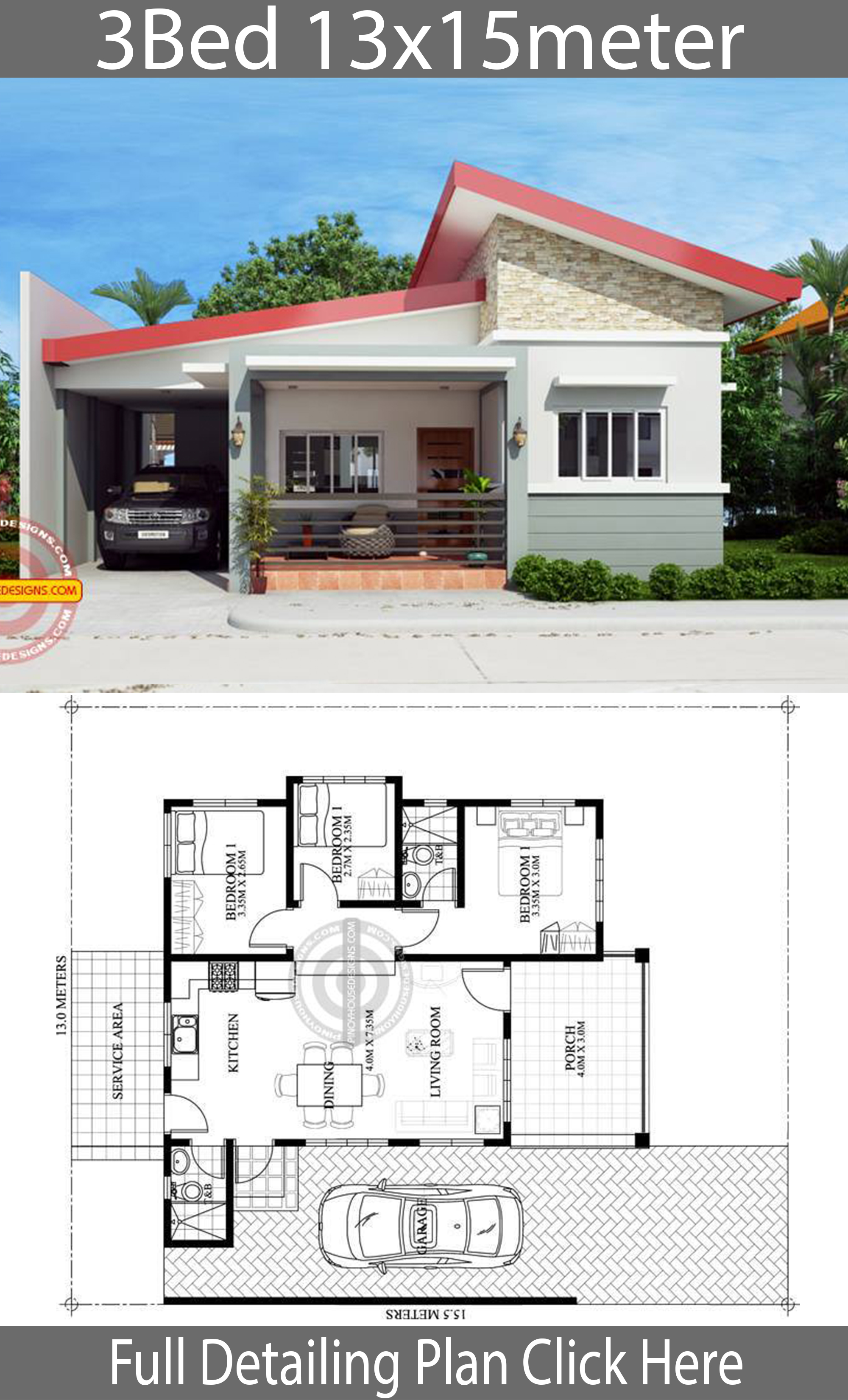 Home design plan 13x15m with 3 Bedrooms - House Plans 3D