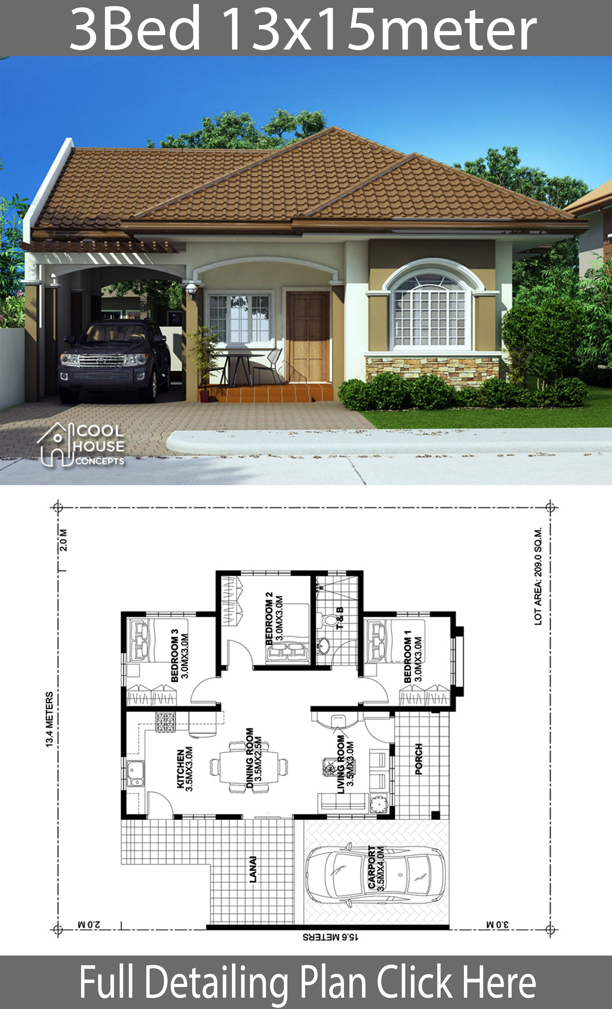 home design plan 13x15m with 3 bedrooms  house plans 3d