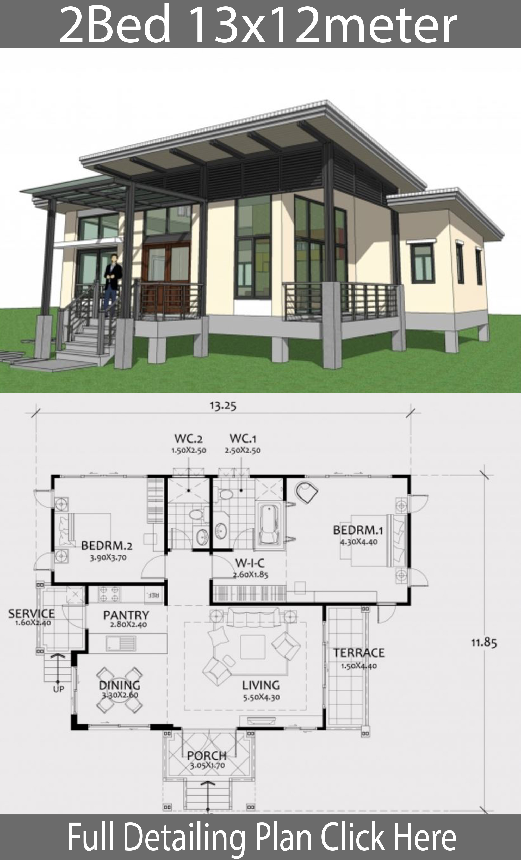One story house plan 13x12m with 2 bedrooms - House Plans 3D