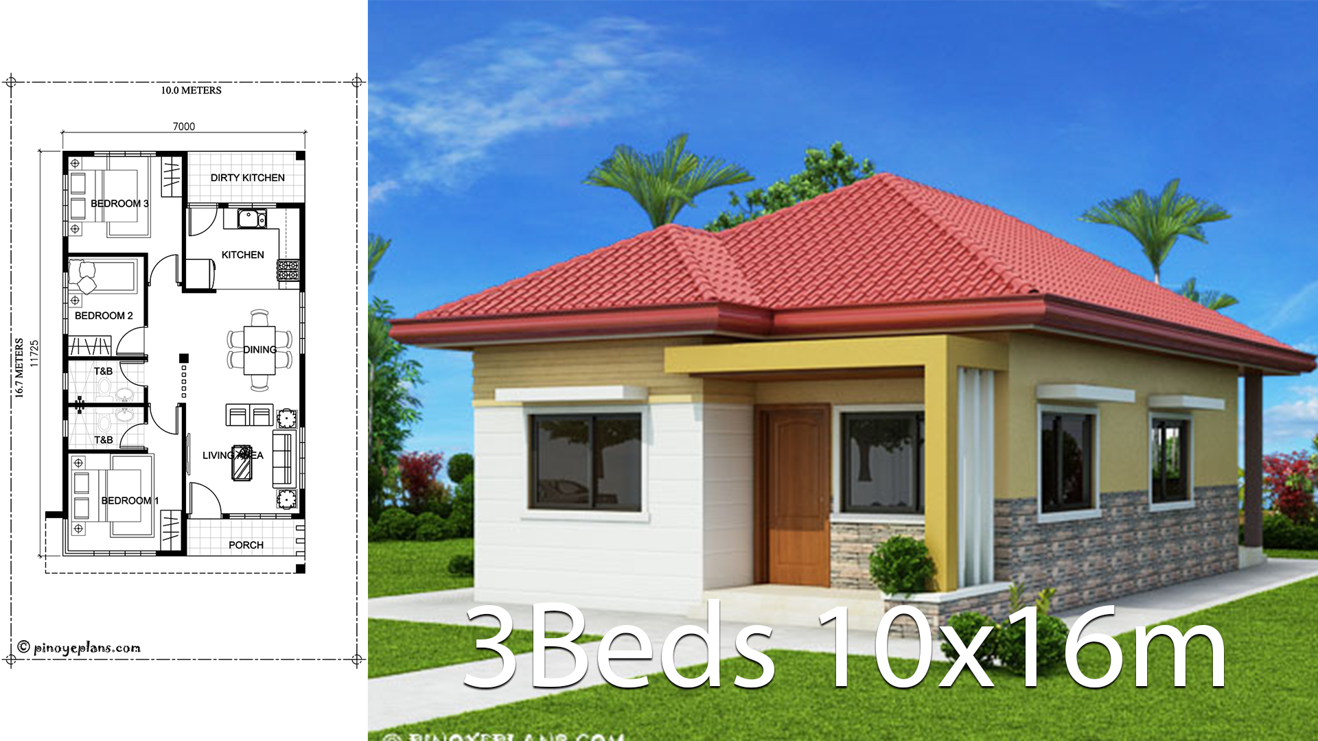 Home Design 10x16m With 3 Bedrooms