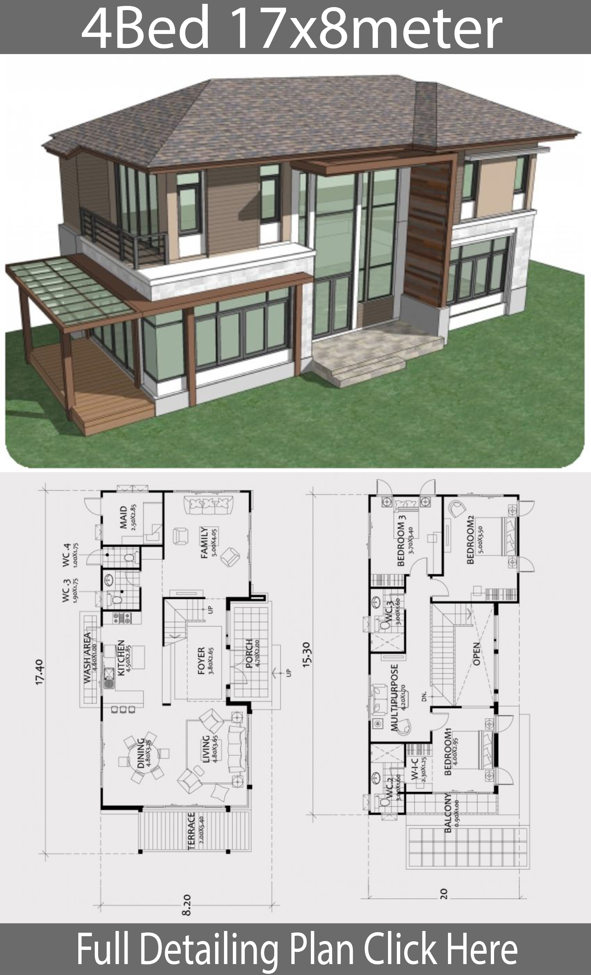 Home design plan 17x8m with 4 bedrooms - House Plans 3D