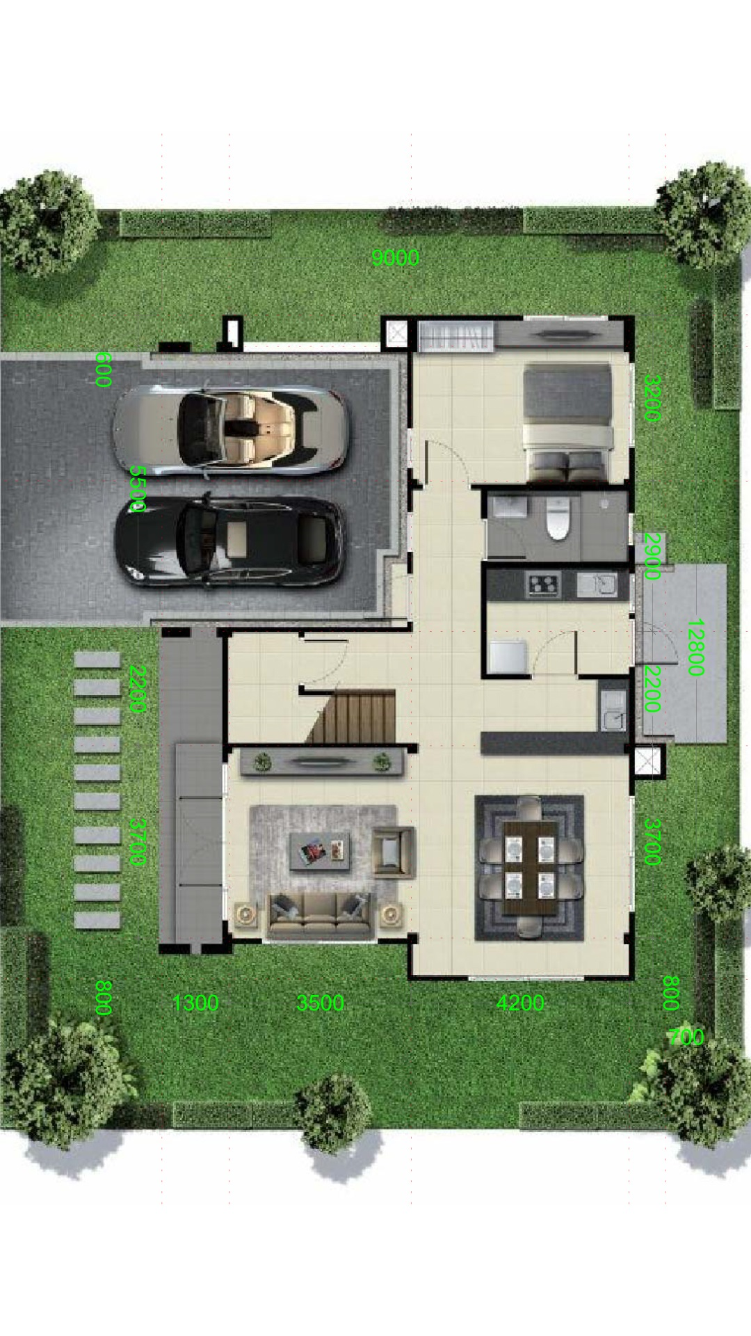 Home design plan 13x9m with 4 bedrooms - House Plans 3D