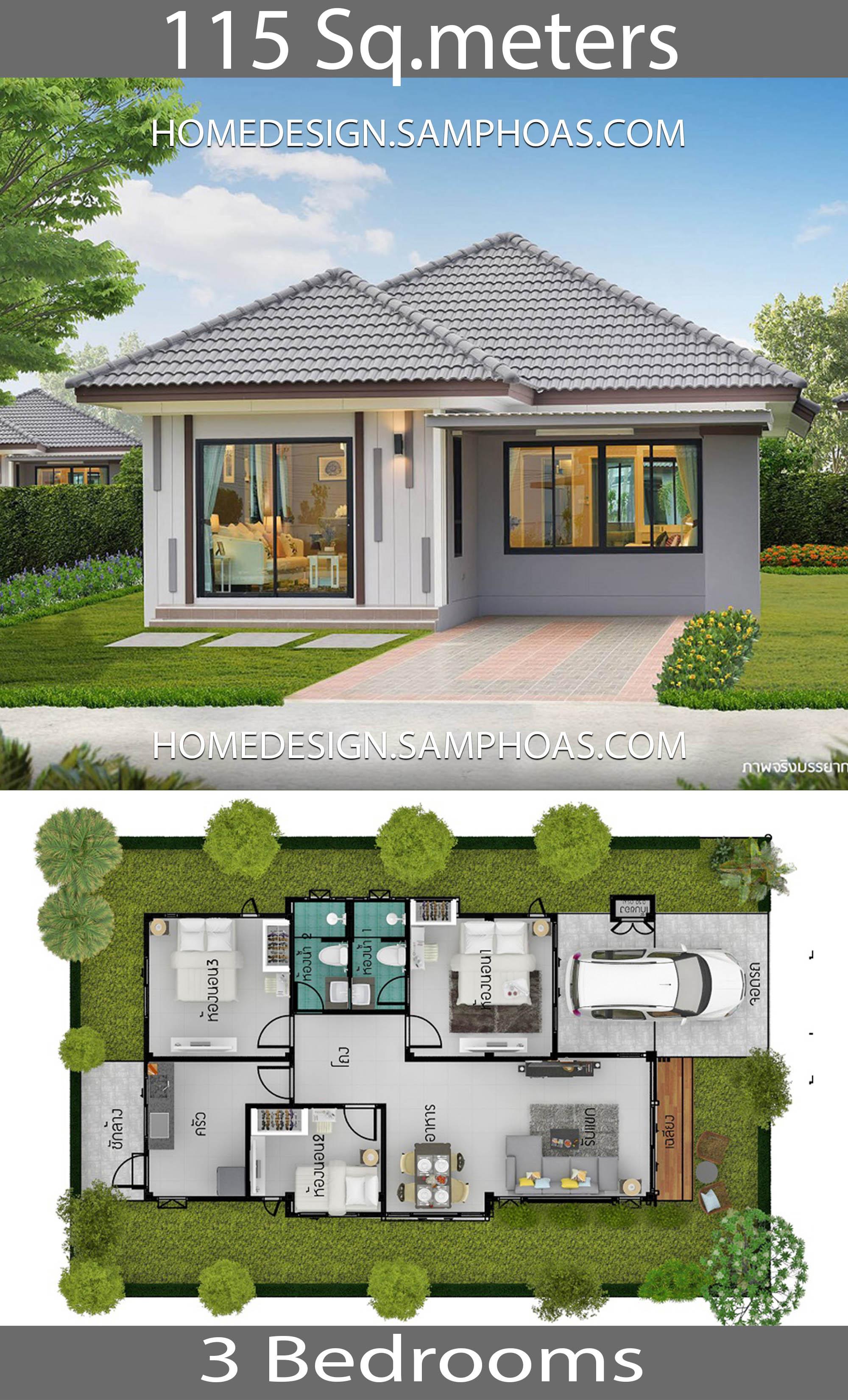 115 Sqm 3 Bedrooms Home design idea - House Plans 3D