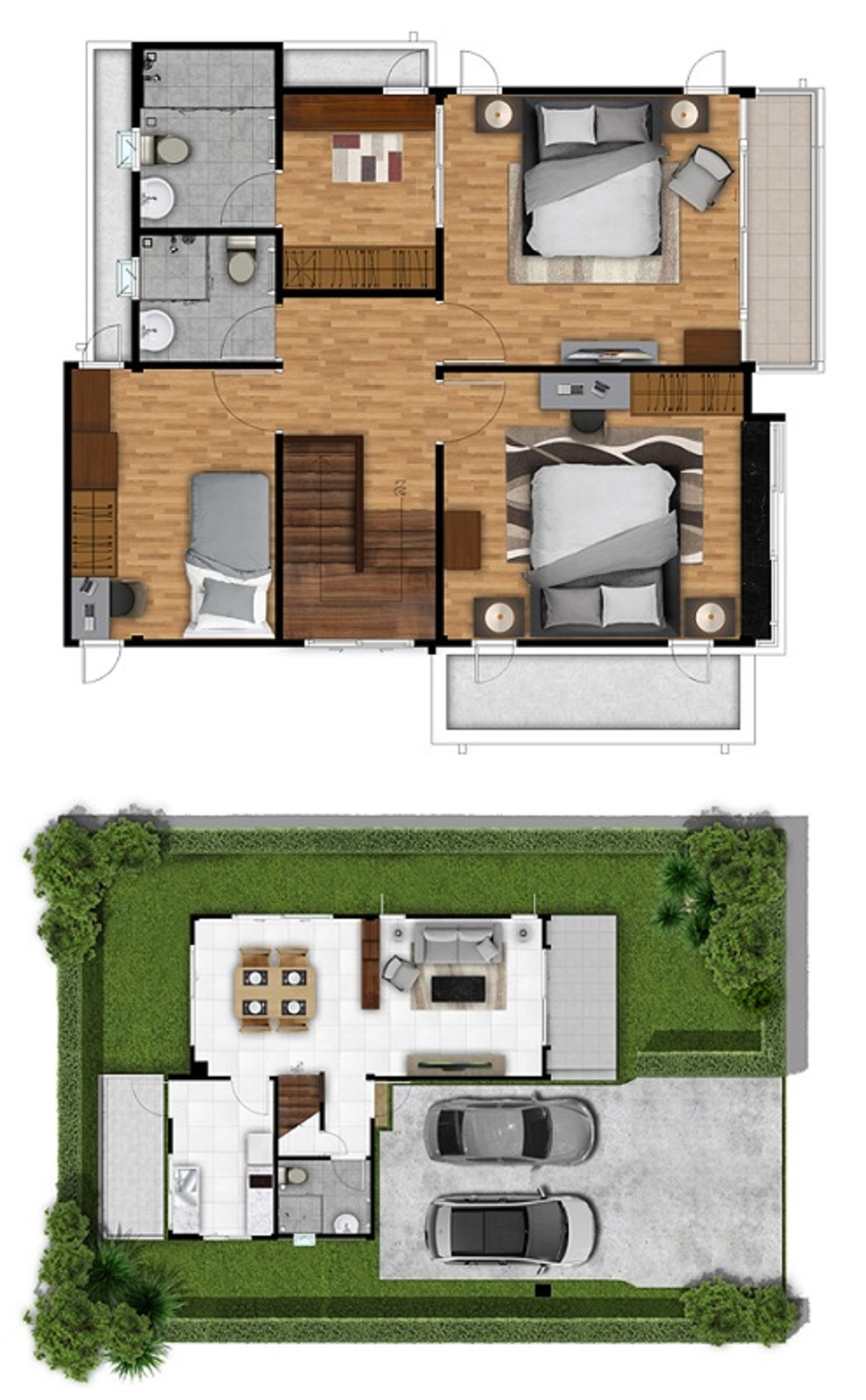 150 Sqm Home design Plans with 3 bedrooms - House Plans 3D