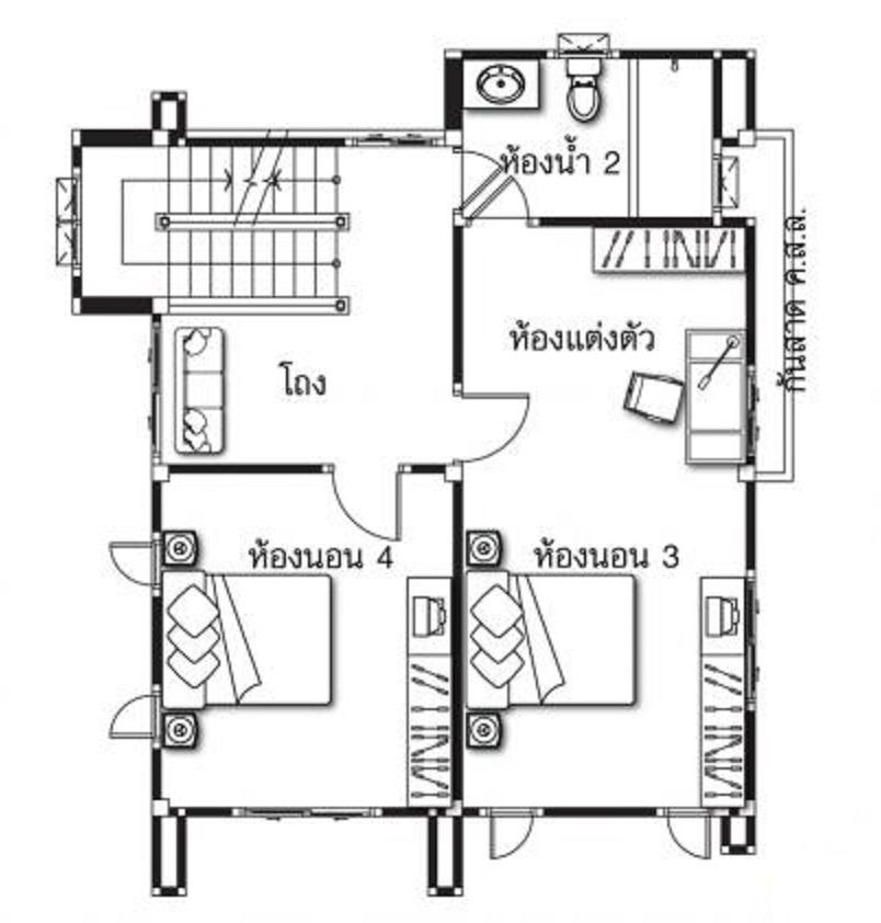 House design plans 8x7m with 4 bedrooms - House Plans 3D
