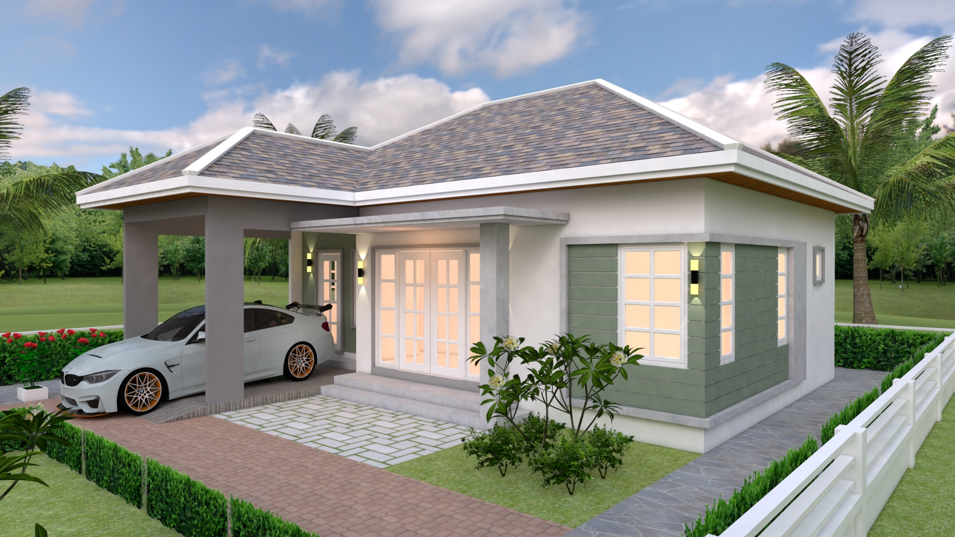 House Plans 10x10 with 3 Bedrooms - House Plans 3D