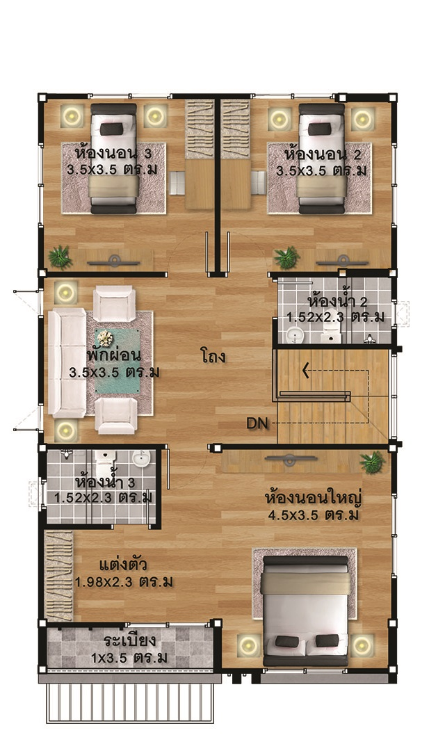 House design Plans Idea 7x11.5 with 3 bedrooms - House ...